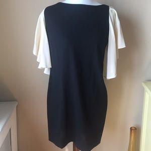 Foley Corinna Black Dress with White Sleeves